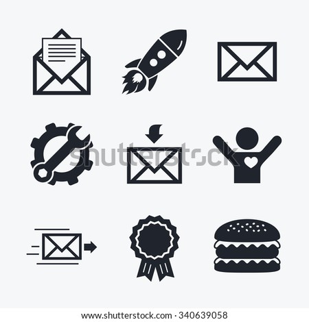 Award achievement, spanner and cog, startup rocket and burger. Mail envelope icons. Message document delivery symbol. Post office letter signs. Inbox and outbox message icons. Flat icons. - stock vector