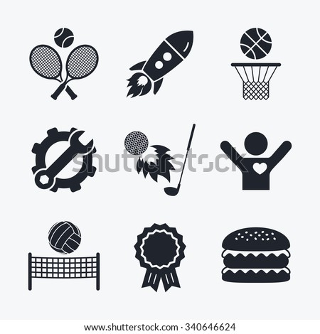Award achievement, spanner and cog, startup rocket and burger. Tennis rackets with ball. Basketball basket. Volleyball net with ball. Golf fireball sign. Sport icons. Flat icons. - stock vector