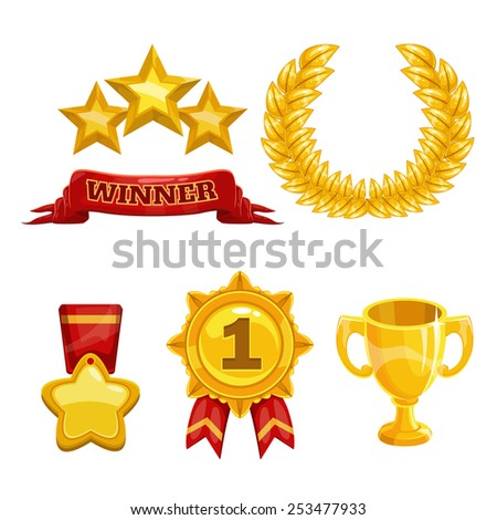 Award and trophy icons set, isolated vector golden elements