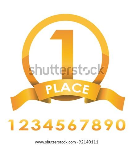 Award badge golden vector illustration - stock vector