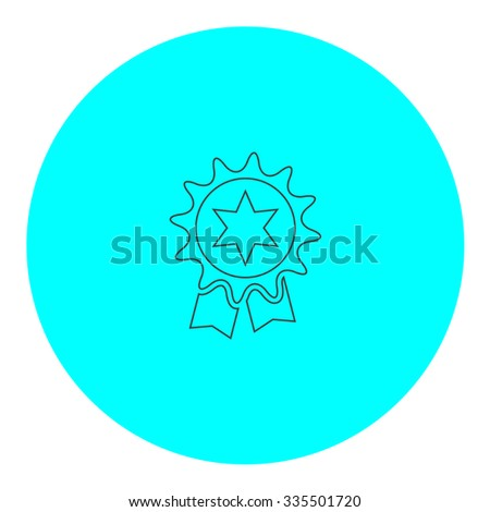 Award. Black outline flat icon on blue circle. Simple vector illustration pictogram on white background - stock vector