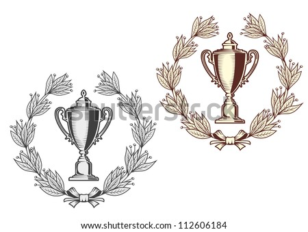 Award bowl with laurel wreath for sports or another achievement design concept, such a logo. Jpeg version also available in gallery - stock vector