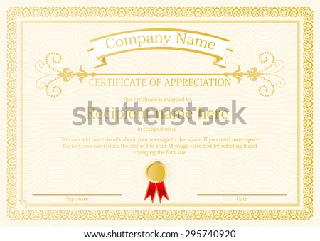 Award Certificate frame template design vector - stock vector