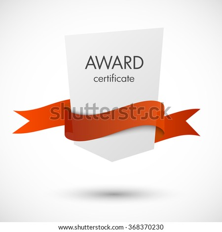 Award certificate with wave red ribbon vector illustration - stock vector