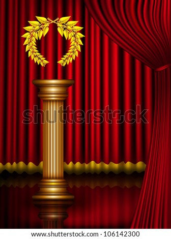 Award column with golden winner laurel wreath on theater stage with velvet curtain. Vector EPS10 illustration. Raster file included in portfolio