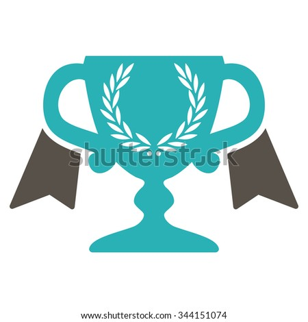 Award Cup vector icon. Style is bicolor flat symbol, grey and cyan colors, rounded angles, white background. - stock vector