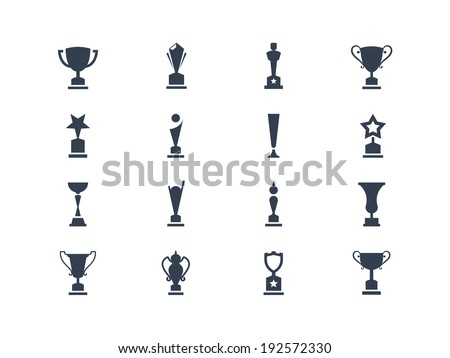 Award cups and trophy icons - stock vector