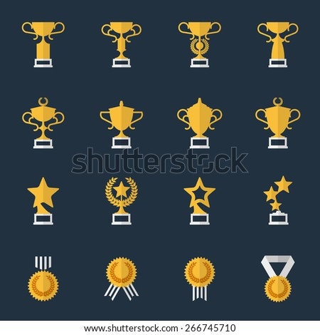 Award cups and trophy icons. Sport trophy, prize and award, vector illustration