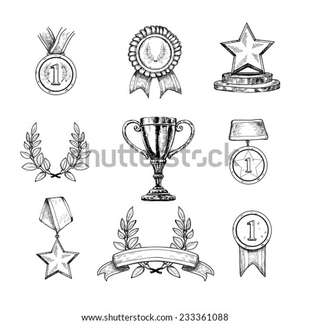 Award decorative sketch icons set of trophy medal winner prize champion cup isolated vector illustration - stock vector