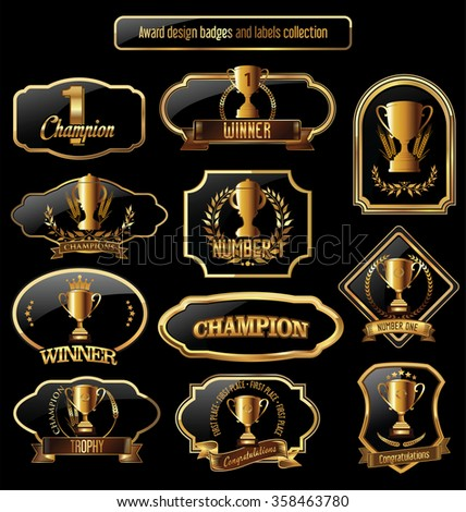 Award design black and golden Labels collection - stock vector