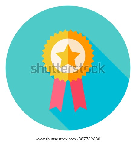 Award Gold medal with Star Circle Icon. Flat Design Vector Illustration with Long Shadow. Sport Activity and Fitness Lifestyle Symbol. - stock vector