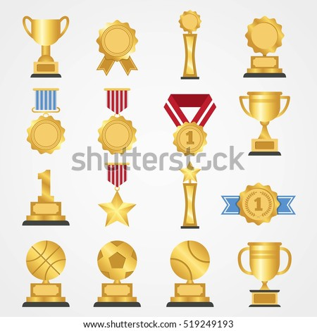 Award icon collection design vector. Champion achievement medallion. Success symbol emblem winner sign.