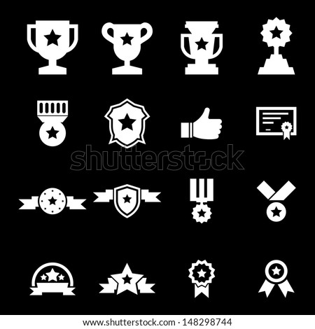 Award Icon -White - stock vector