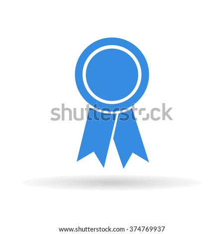 award icon with shadow on a white background, stylish vector illustration