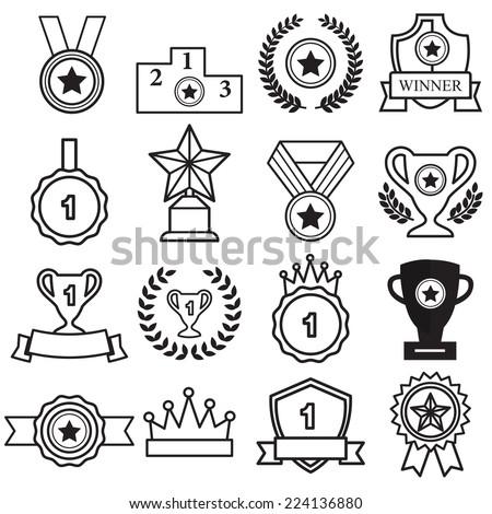 award icons set - stock vector