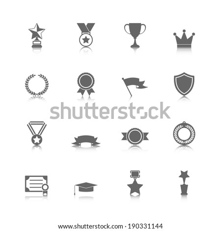 Award icons set of trophy medal winner prize champion cup isolated vector illustration - stock vector