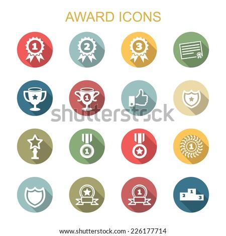 award long shadow icons, flat vector symbols - stock vector