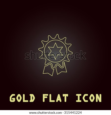 Award. Outline gold flat pictogram on dark background with simple text.Vector Illustration trend icon - stock vector