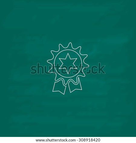 Award. Outline vector icon. Imitation draw with white chalk on green chalkboard. Flat Pictogram and School board background. Illustration symbol - stock vector