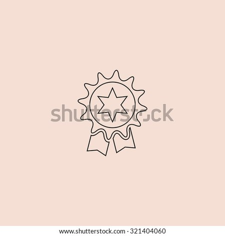 Award. Outline vector icon. Simple flat pictogram on pink background - stock vector