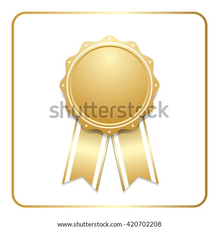 Award ribbon gold icon. Blank medal with stars isolated on white background. Stamp rosette design trophy. Golden emblem.  Vector illustration - stock vector