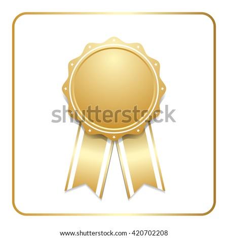 Award ribbon gold icon. Blank medal with stars isolated on white background. Stamp rosette design trophy. Golden emblem.  Vector illustration - stock vector