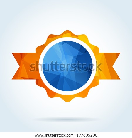 Award rosette badge with triangle pattern - stock vector
