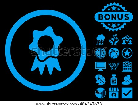 Award Seal icon with bonus pictures. Vector illustration style is flat iconic symbols, blue color, black background.