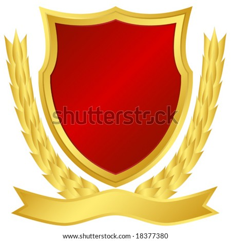 Award shield and laurel wreath - stock vector
