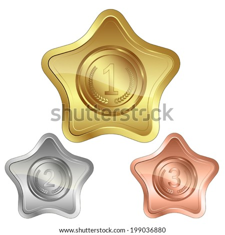 Award shield / medal SET.  Useful elements for your layout design. Premium Quality, Genuine and Satisfaction, Easy to Edit - stock vector
