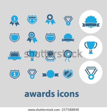 award, trophy, achievement, victory isolated icons, signs, silhouettes, illustrations,  set, vector - stock vector