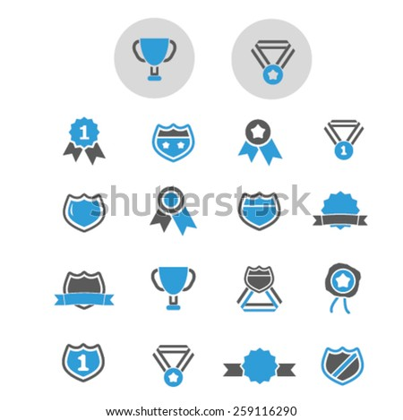 award, victory, trophy, winner icons, signs, illustrations concept design set, vector - stock vector