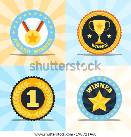 Award winner flat labels set of medal cup laurel wreath star isolated vector illustration - stock vector