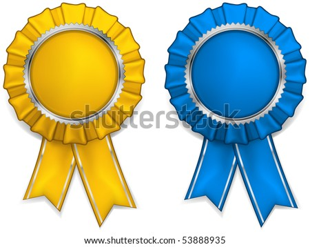 Award yellow and blue rosettes with medals and ribbons, vector illustration - stock vector