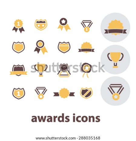 awards, achievement, victory, emblem, trophy icons, signs, illustrations set, vector - stock vector