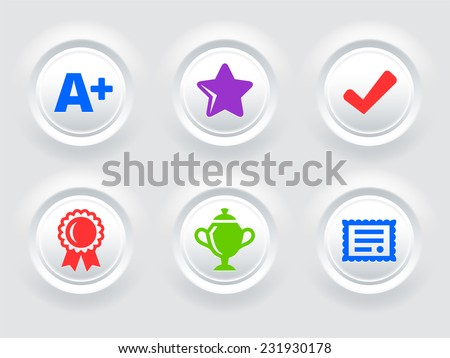 Awards and Achievements on White Bevel Round Buttons