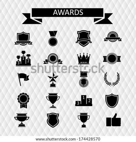 awards and trophies set of icons - stock vector
