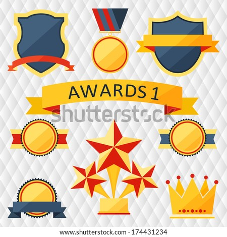 awards and trophies set of icons