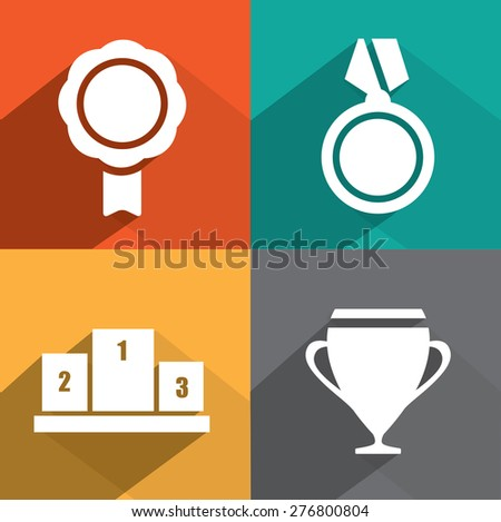 Awards as badges and trophy in flat design style - stock vector