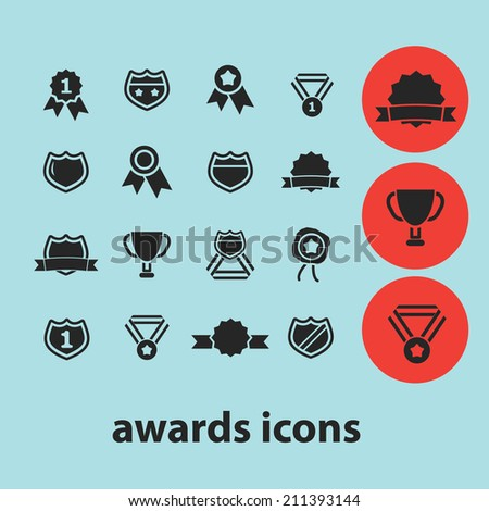 awards black isolated icons, signs, silhouettes, illustrations set, vector - stock vector
