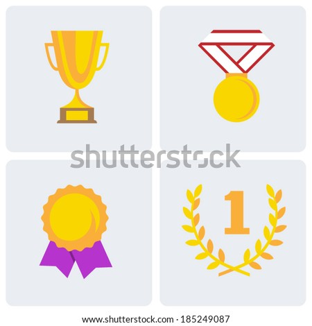 Awards flat icon set.