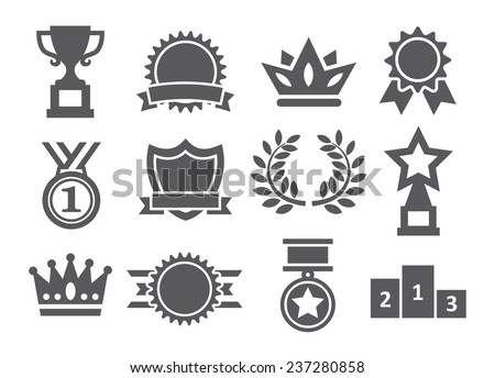 Awards icons - stock vector