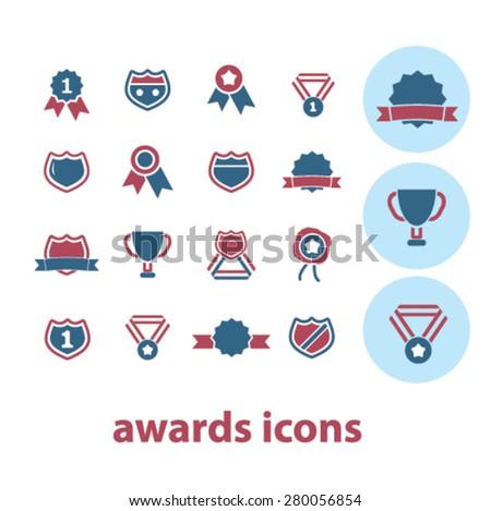 awards icons set, vector - stock vector