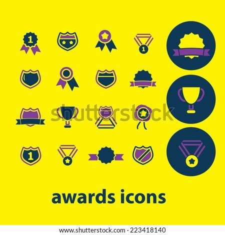 awards icons, signs, symbols, illustrations, vectors set - stock vector