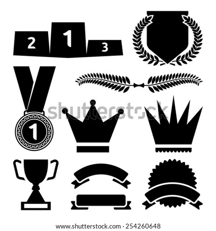 Awards icons vector set - stock vector