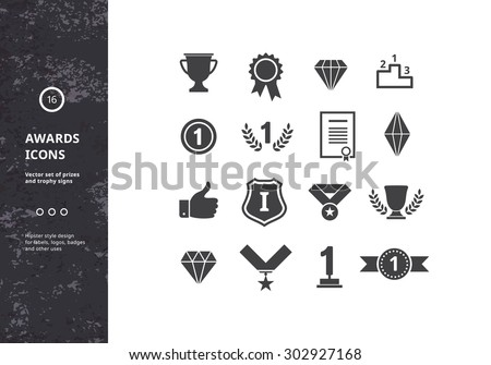 Awards Icons. Vector Set of prizes and Trophy Signs. Hipster Designs for Labels, Badges and Logos.  - stock vector