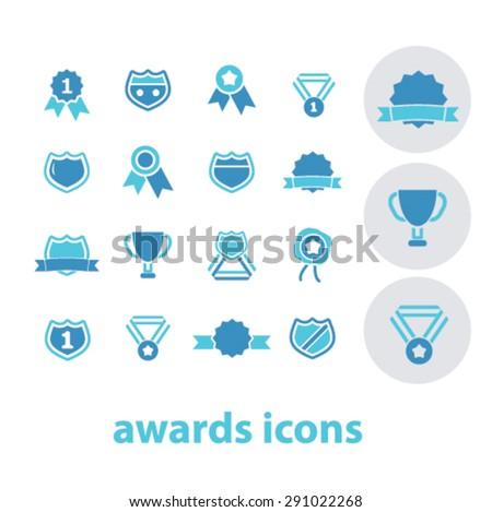awards isolated icons, signs, illustrations for web, internet, mobile application, vector - stock vector