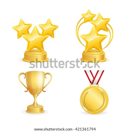 Awards Set. Golden Star, Cup and Medal. Vector illustration