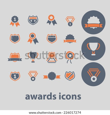 awards, victory, emblem icons, signs, illustrations set, vector - stock vector