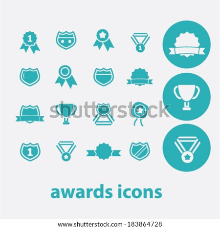 awards, victory flat icons set  for digital web, print, design, mobile phone apps, vector - stock vector